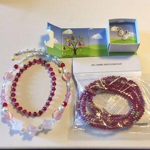 Avon bracelet, earrings. Beaded necklace bracelet
